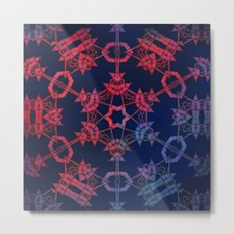 Blue and red glow tribal mandala Metal Print