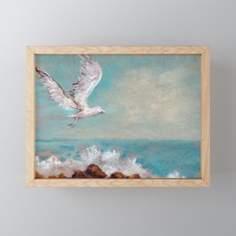 Seagull flying in the blue sky above the waves drawing by pastel Framed Mini Art Print