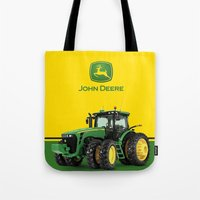 john green Tote Bags featuring John Deere Green Tractor by rumahcreative