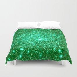 Emerald Green Glitter Stars Duvet Cover