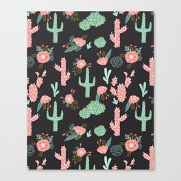Cactus florals dark charcoal colorful trendy desert southwest house plants cacti succulents pattern Canvas Print