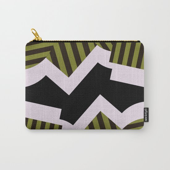 Bold Stripes - Black and white, brown and khaki stripes, abstract geometry Carry-All Pouch