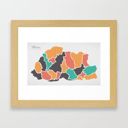 Bhutan Map with states and modern round shapes Framed Art Print