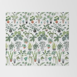 plants and pots pattern Throw Blanket