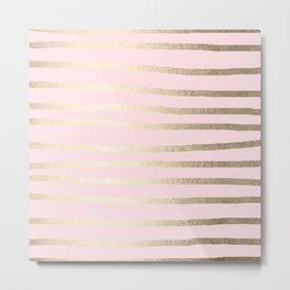 Drawn Stripes White Gold Sands on Flamingo Pink Metal Print