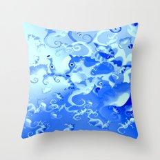 Seahorse in blue Throw Pillow
