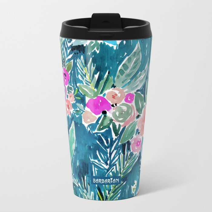 NAVY PARADISE FLORAL Tropical Hibiscus Palm Pattern Metal Travel Mug