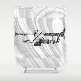 Marbled Music Art - Trumpet - Sharon Cummings Shower Curtain