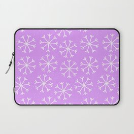 Hand painted modern lilac white Christmas snow flakes Laptop Sleeve