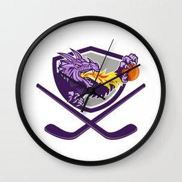 Dragon Fire Ball Hockey Stick Crest Retro Wall Clock