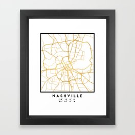 NASHVILLE TENNESSEE CITY STREET MAP ART Framed Art Print