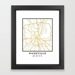 NASHVILLE TENNESSEE CITY STREET MAP ART Framed Art Print