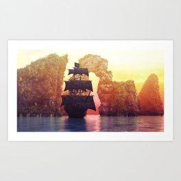 A pirate ship off an island at a sunset Art Print