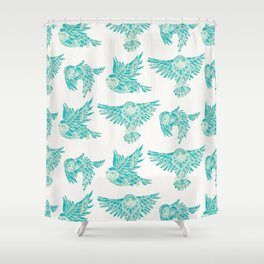 Owls in Flight – Turquoise Palette Shower Curtain