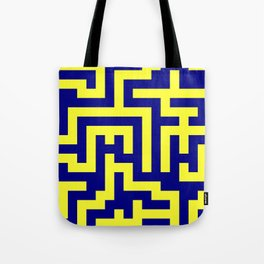 Electric Yellow and Navy Blue Labyrinth Tote Bag