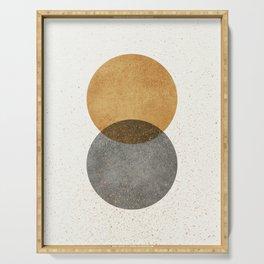 Circle Abstract - Gold Grey Texture Serving Tray