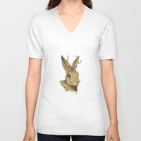 jackalope V-neck T-shirts featuring The Jackalope by Black Bear / White Bear
