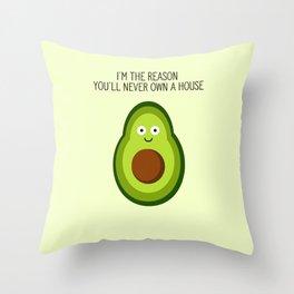 Smug Avocado Throw Pillow