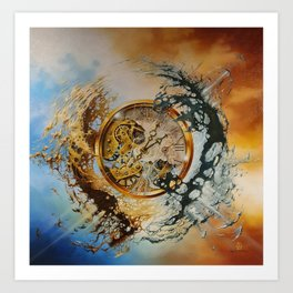 END OF TIME *sales* original oil painting on canvas surreal image brown blue golden clock modern art Art Print