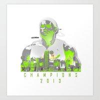 lebron Art Prints featuring NBA CHAMPS MIAMI HEAT (LEBRON) by EAZYYOKEART