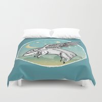 pigs Duvet Covers featuring Pigs Fly by Mary Machare