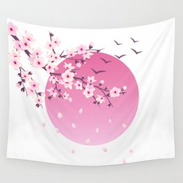 Japanese Cherry Blossom Wall Tapestry