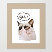 grumpy Canvas Prints featuring Grumpy by Liffy Designs