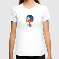 philippines T-shirts featuring Vintage Tree of Life with Flag of Philippines by Jeff Bartels