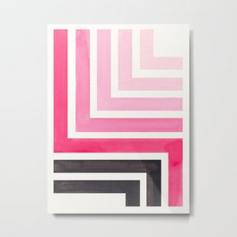 Pink Mid Century Modern Watercolor Colorful Ancient Aztec Art Pattern Minimalist Geometric Pattern Metal Print