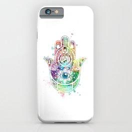 Hamsa Hand Art Colorful Watercolor Gift iPhone Case