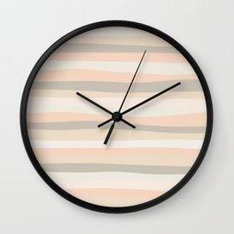 Organic Stripes Pale Apricot Wall Clock