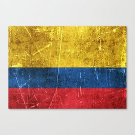 Vintage Aged and Scratched Colombian Flag Canvas Print