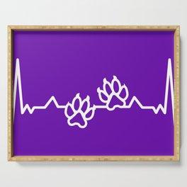 Animal Cat Dog Art Paw Prints Heartbeat On Purple Serving Tray