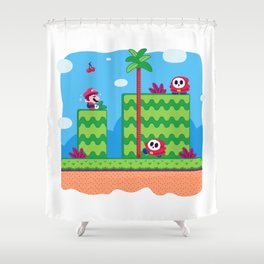 Tiny Worlds - Super Mario Bros. 2: Mario Shower Curtain