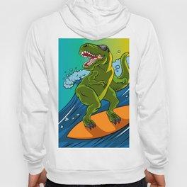 Cartoon illustration of a dinosaur surfing. Hoody