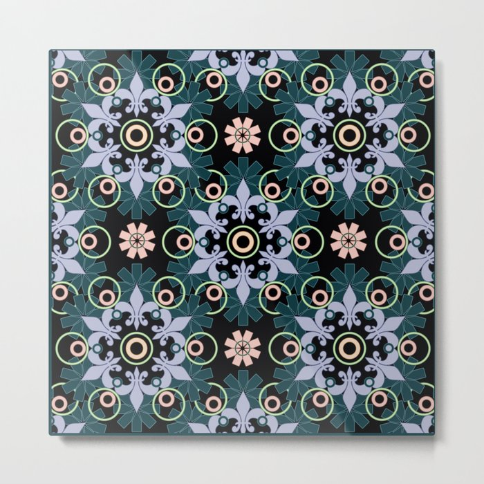Abstract Oriental pattern on a black background. Metal Print
