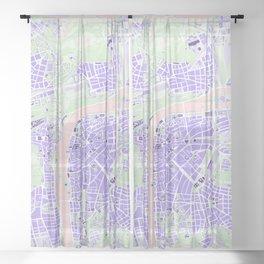 Prague map violet Sheer Curtain