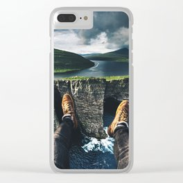 at the edge of the world Clear iPhone Case