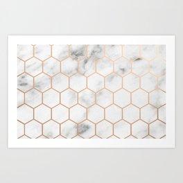 Honeycomb Rose Gold Marble Art Print