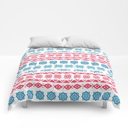 Hand painted blue red watercolor scandinavian geometrical pattern Comforters