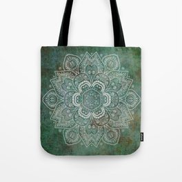 Silver White Floral Mandala on Green Textured Background Tote Bag