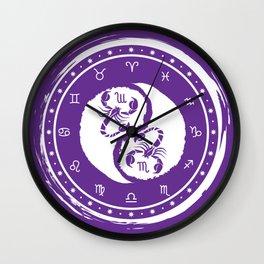 Scorpio Yin Yang Eighth Zodiac Sign Wall Clock