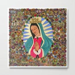 Virgen de Guadalupe con Corazones Metal Print