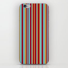 Golden, Red Wine and Turquoise Vintage Stripes iPhone Skin