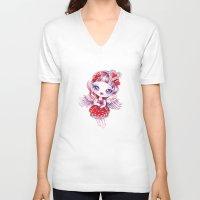 valentina V-neck T-shirts featuring Valentina by Sandra Vargas