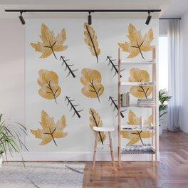 Warm Crisp Autumn Leaves & Twigs  Wall Mural