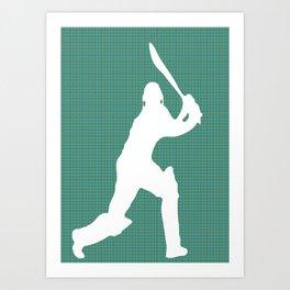 Cricketer Silhouette - Summer game  Art Print