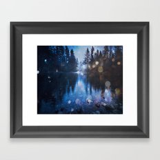Forest Reflection Nature Lake - Magical Blue Forest Water Reflection Framed Art Print