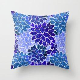 Azurite Blue Flowers Throw Pillow