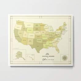 United States of America [Vintage Inspired] Map print Metal Print